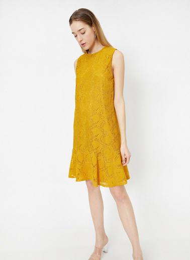 Koton Dantel Detaylı Elbise Sarı